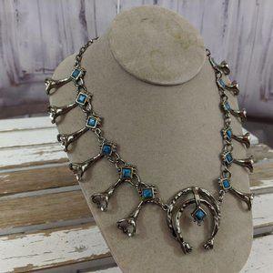 Repro squash blossom native necklace blue a